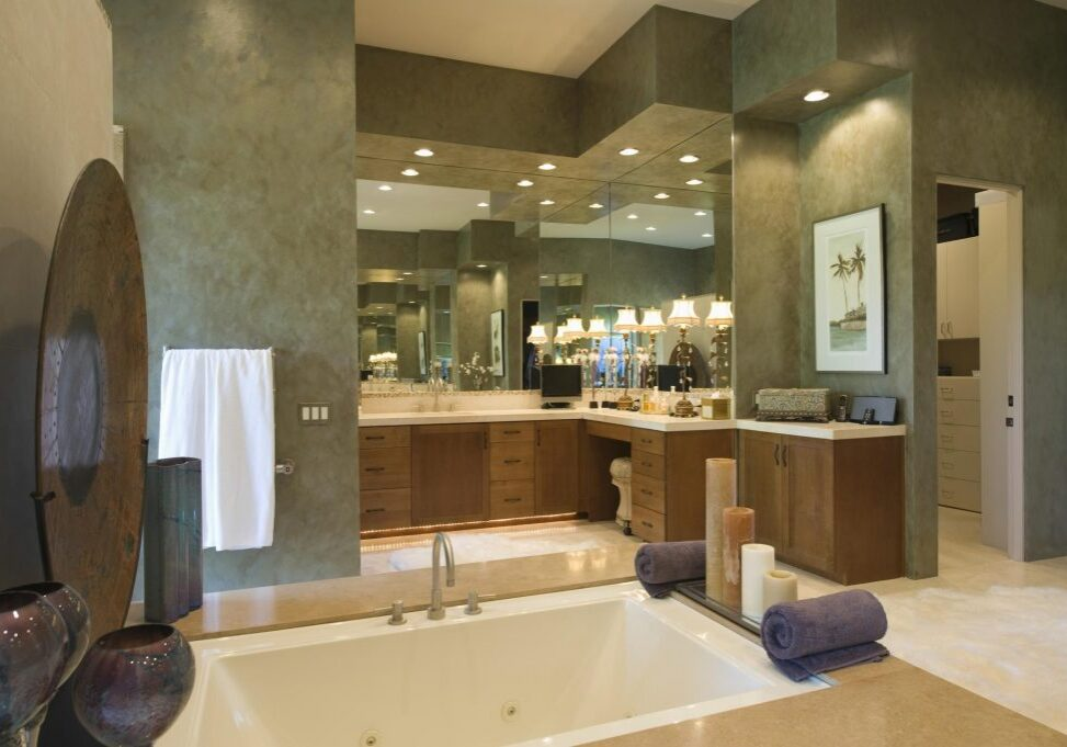 a bathroom with marbled wall